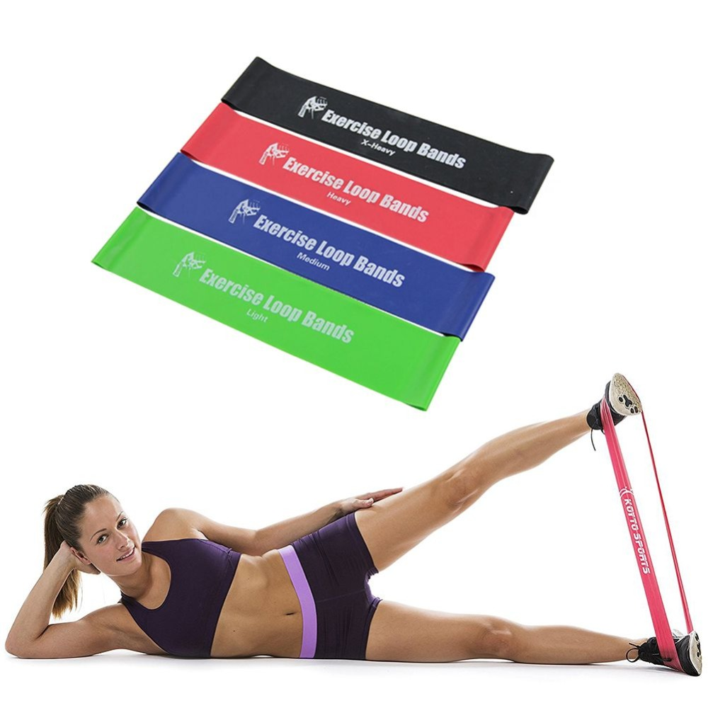 Exercise Rubber Bands Green: 4pcs/Set Crossfit Resistance Bands Yoga Pilates Athletic