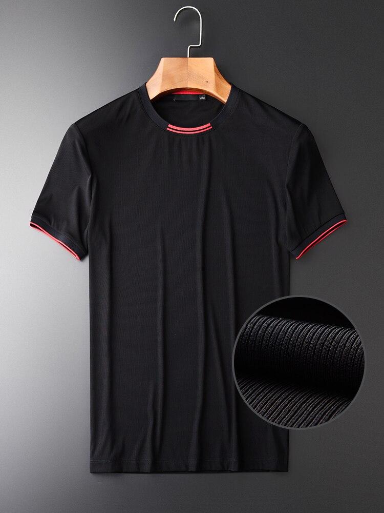Minglu New Arrival Black Men's Short Sleeve T shirts Hight Quality Yarn Dyed Rib Slim Men's Fashion T shirts Plus Size M 4XL