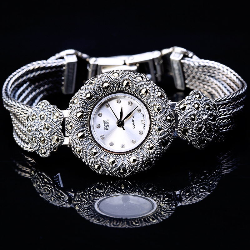 Character of silver products Thai silver wholesale S925 silver Thailand process the plum flower bracelet watches new limited edition classic elegant s925 silver pure thai silver bracelet watches thailand process rhinestone bangle dresswatch