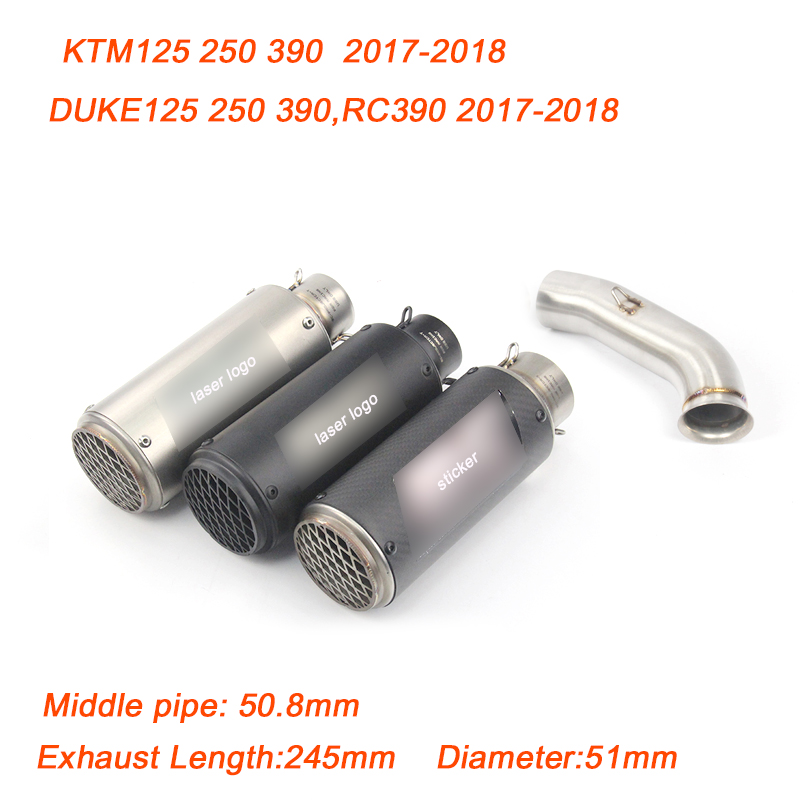 125 250 390 RC390 Motorcycle Middle Link Pipe 51mm Stainless Steel Exhaust System for KTM DUKE 125 250 390 RC390 2017 2018 image