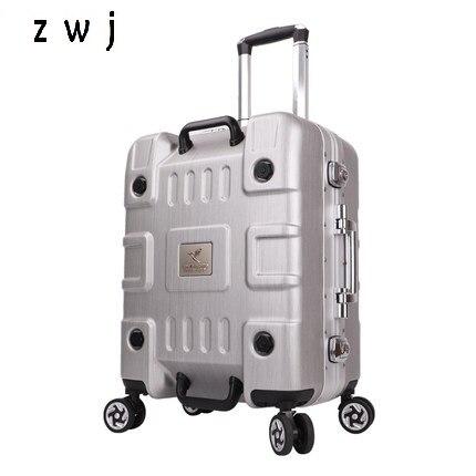 20 24 Zoll Männer Und Frauen Aluminium Rahmen Gepäck Griff Spinner Koffer Mit Regenschirm Hardside Gepäck Im Sommer KüHl Und Im Winter Warm