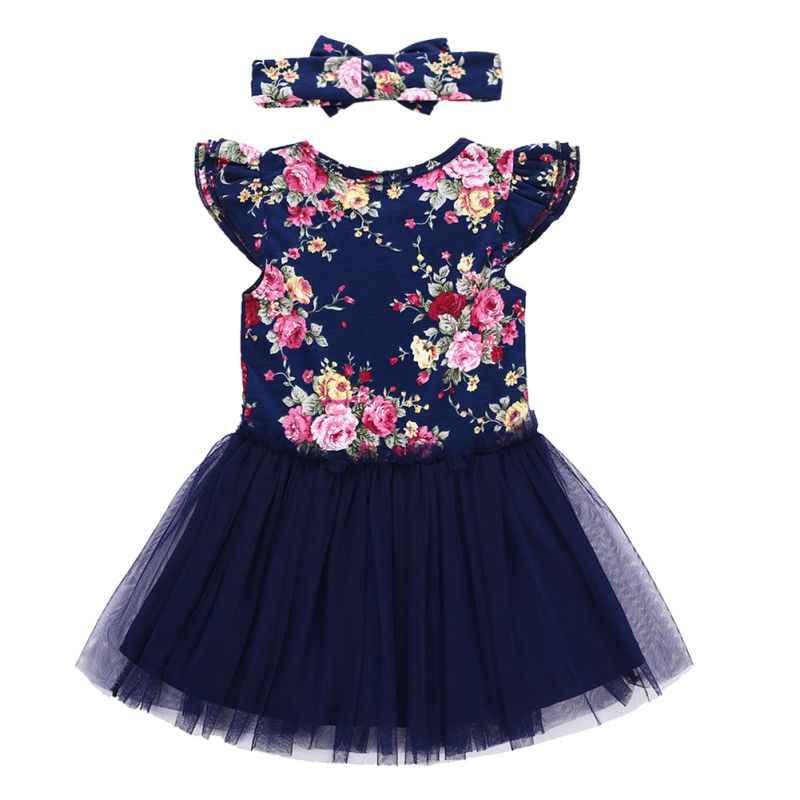 Красивое платье с цветочным рисунком для маленьких девочек летнее платье принцессы с рукавами «летучая мышь», Сетчатое платье с мозаичным цветком + Детская повязка для волос, костюм
