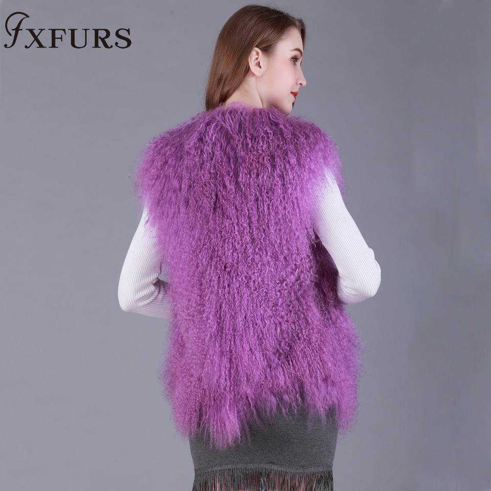 Réel Véritable Femmes Agneau purple red Tibet 2017 Fourrure black white Gilet Naturelle wine Mongolie Fxfurs Manteau Red Beige Automne Gilets Fille Mode De Y5ECwxq8
