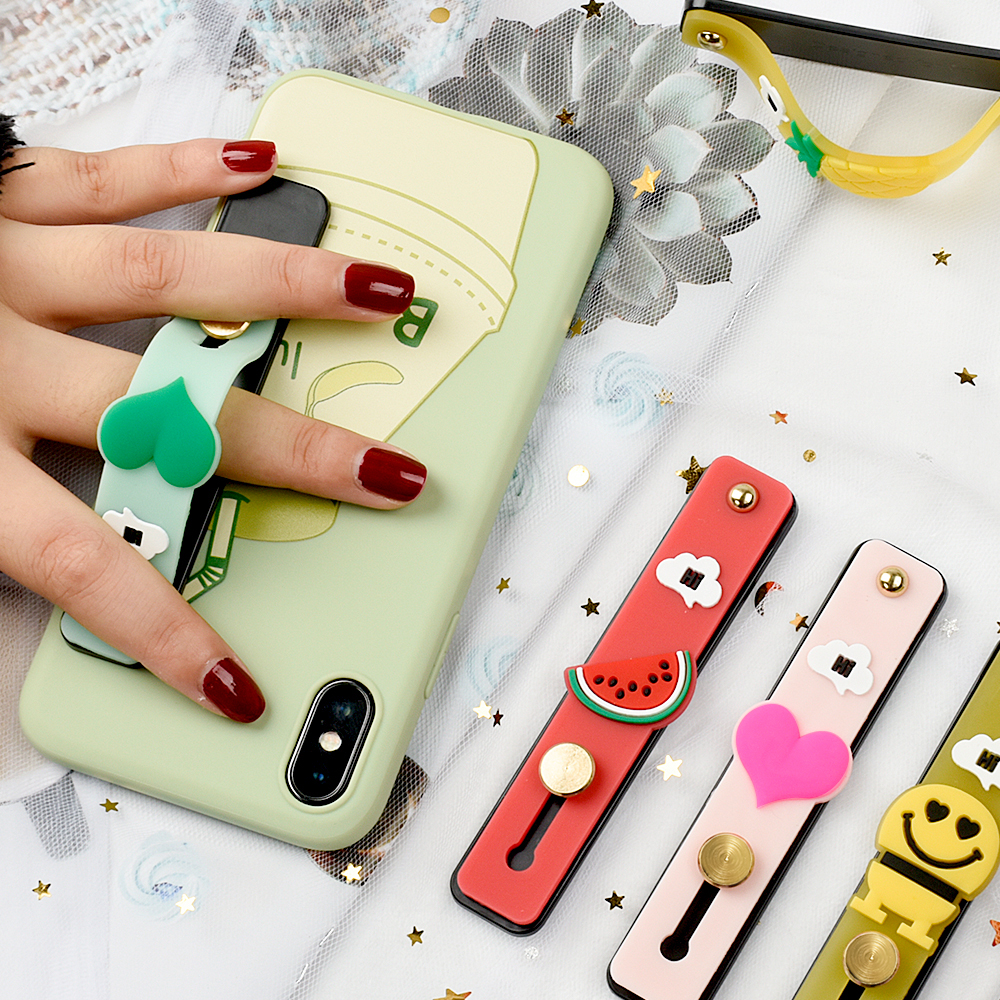 Fashion New Cute Cartoon Candy Color Phone Holder For IPhone 7 XR Soft Cute Bracket Wrist Strap Universal Socket Phone Stand