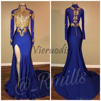 cfa55efb8055b4 Arabic Gold Appliques High Collar Prom Dresses Mermaid Vintage Long Sleeves  2018 Sexy High Thigh Split