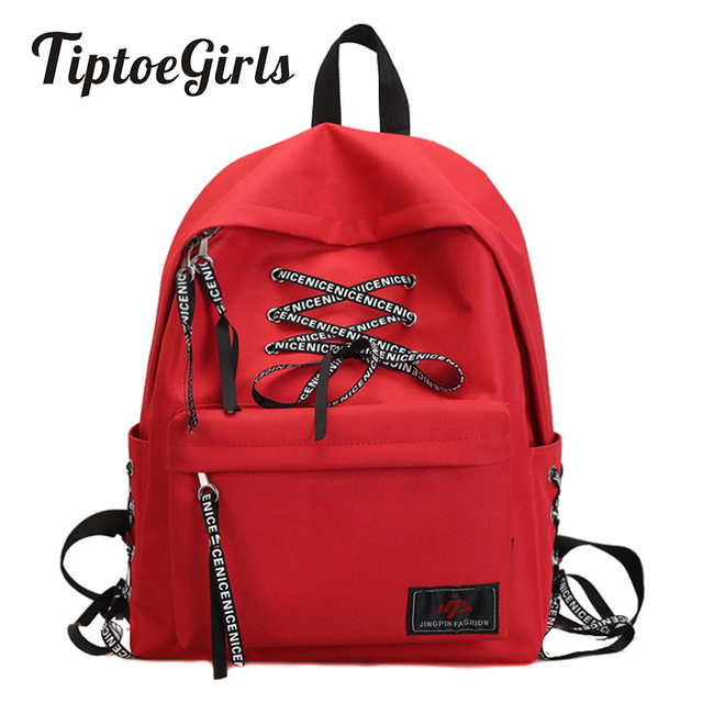 ca6773b6c9e9 Moto Biker Nylon Girls Backpack Bag Modern Girls  Bag New Design Lovely  Shoelace Design Girls