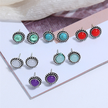 L&H 6Pairs/Set Vintage Round Stud Earrings Set Classic Rhinestone For Women Bohemian Style Mix Color Ear Accessories