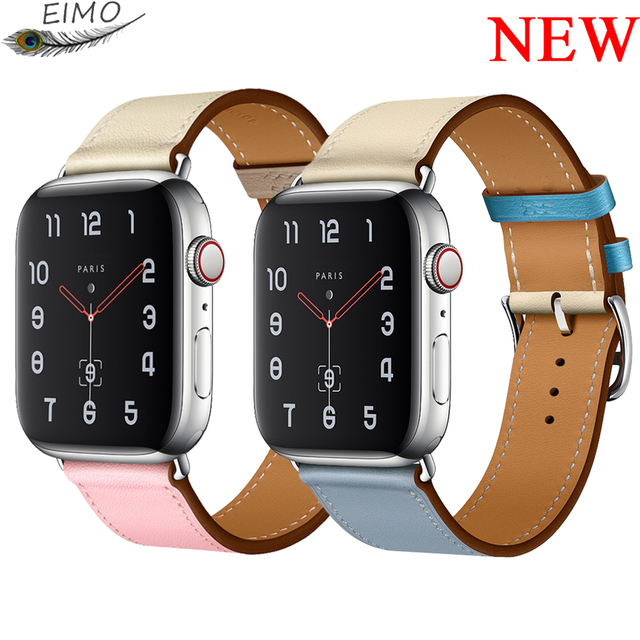 33be9389a5 Leather Strap for Apple watch band 42mm 38mm iWatch band 44mm 40mm Single  tour Watchband bracelet Apple watch 4 3 2 1 Hermes