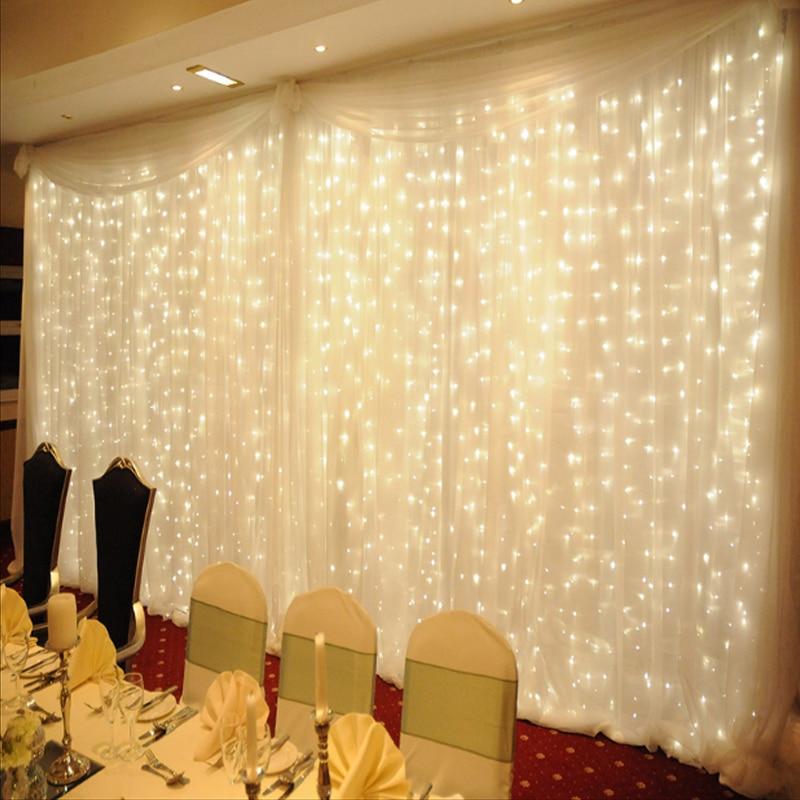 4.5*3Meter 300LED White Light Romantic Christmas Wedding Outdoor Decoration Curtain String Light US/EU Plug 110V 220V warm white