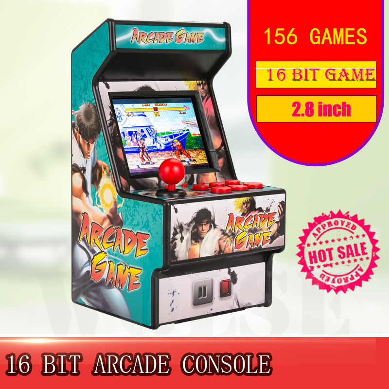 Best popular 16 bit mini arcade mini retro console handheld portable classic game console handheld player with 156 games image