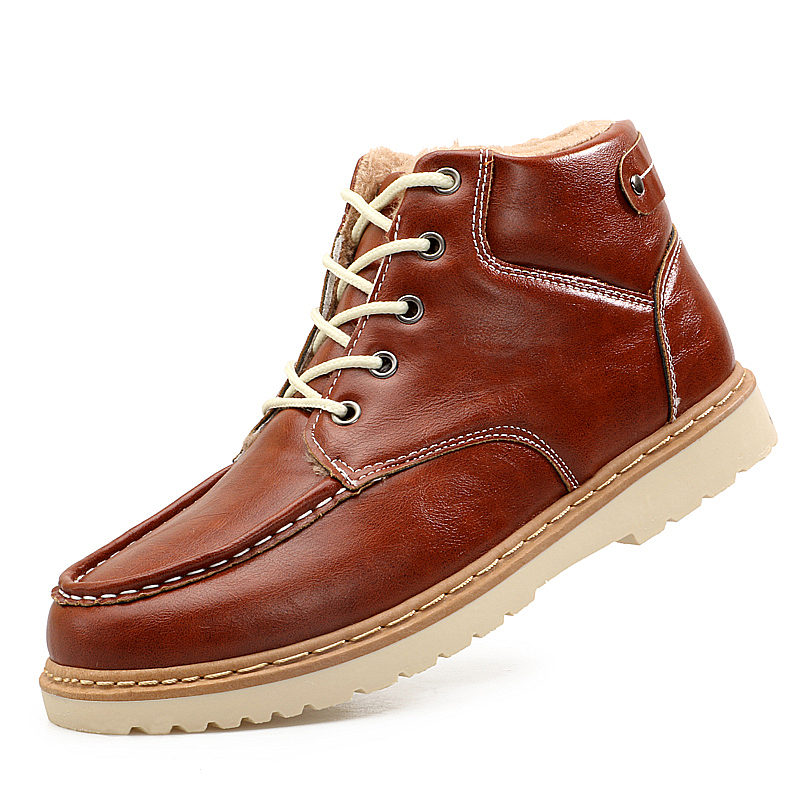 Winter Men's Super Warm Fashion Casual High tops Shoes Ankle Boots Flats PU Leather Business Dress Fur Plush Cotton Snow Boots