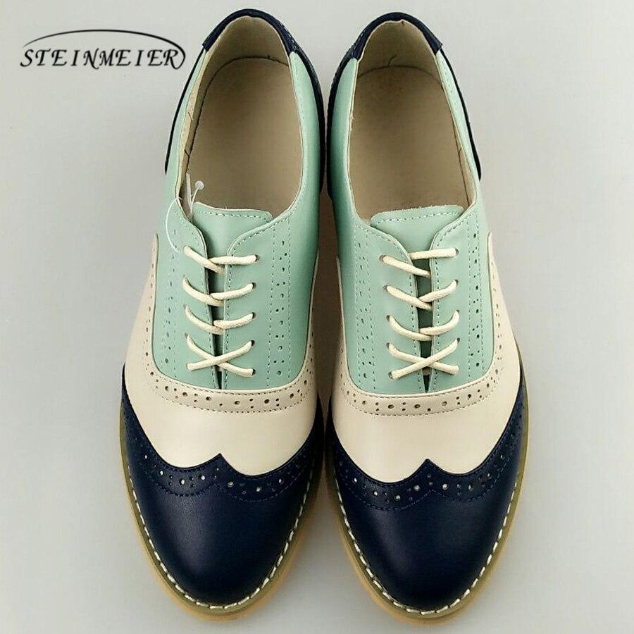 Женские Натуральная кожа Оксфорд женская обувь ручной работы на плоской подошве винтажные Ретро на шнуровке Лоферы коричневые Повседневны...