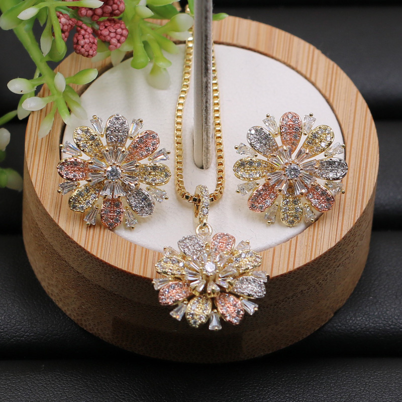 Lanyika Jewelry Set Good Luck Snow Ice Flower Micro Paved Necklace With Earrings Anniversary Engagement Daily Luxury Gifts