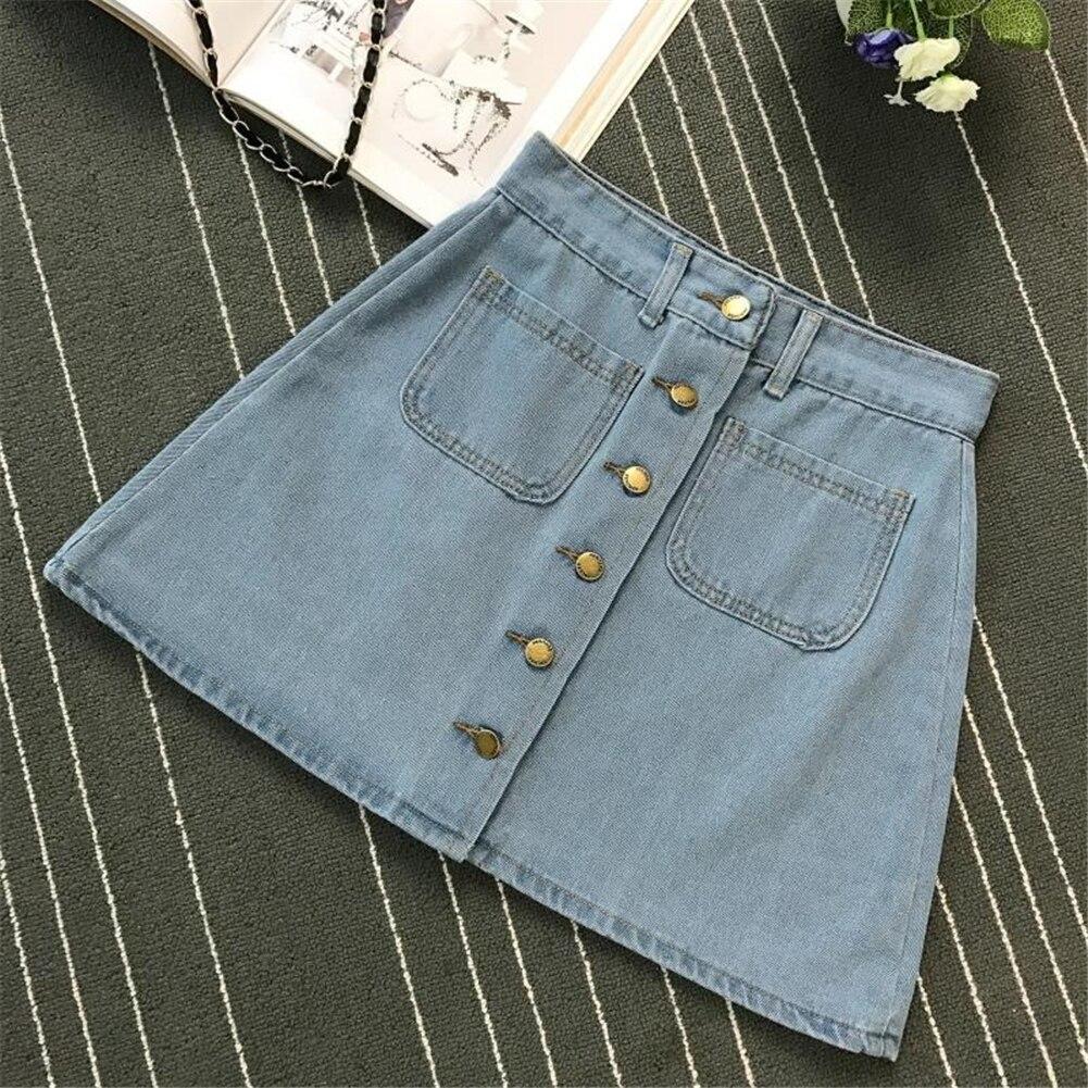 Denim Skirt Spring Summer Women Short A-line Buttom Skirts High Waist Slim Pocket Clothes For Female Causal Summer Women Skirt 14