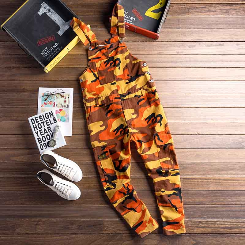 Fashin Men\`s Camouflage Denim Jumpsuit Pants Designer Multi-pockets Man Skinny Slim Fit Bib Overalls Casual Trousers For Male (11)