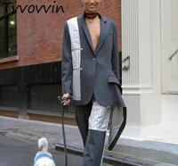Женское пальто Блейзер костюм Woamn Нерегулярные полосы сращивание длинный костюм пальто асимметрия Цвет Соответствующие пальто 2019 Новая мо