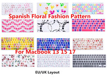 HRH UK ESP Spanish Flower Decal Silicone Keyboard Cover Keypad Skin Protector for MacBook Air Pro
