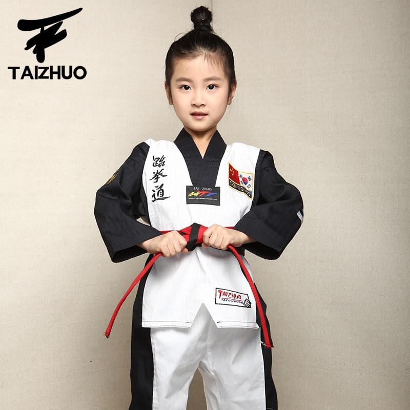 2017 children Kids Taekwondo dobok WTF Approved Taekwondo fitness training Dobok Uniforms Long Sleeve kung fu Clothes110-150cm