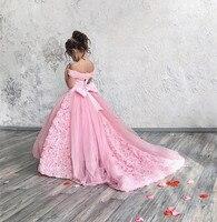 Розовое платье для девочек с цветами на свадьбу и День Рождения вечерние Дети платье для свадьбы пышные фатиновые кружева с поездом индивид