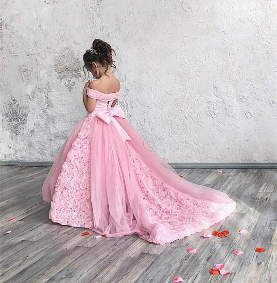 цена на Pink Flower Girl Dress Birthday Wedding party Kids Dress for Wedding Puffy Tulle Lace with Train Custom Made