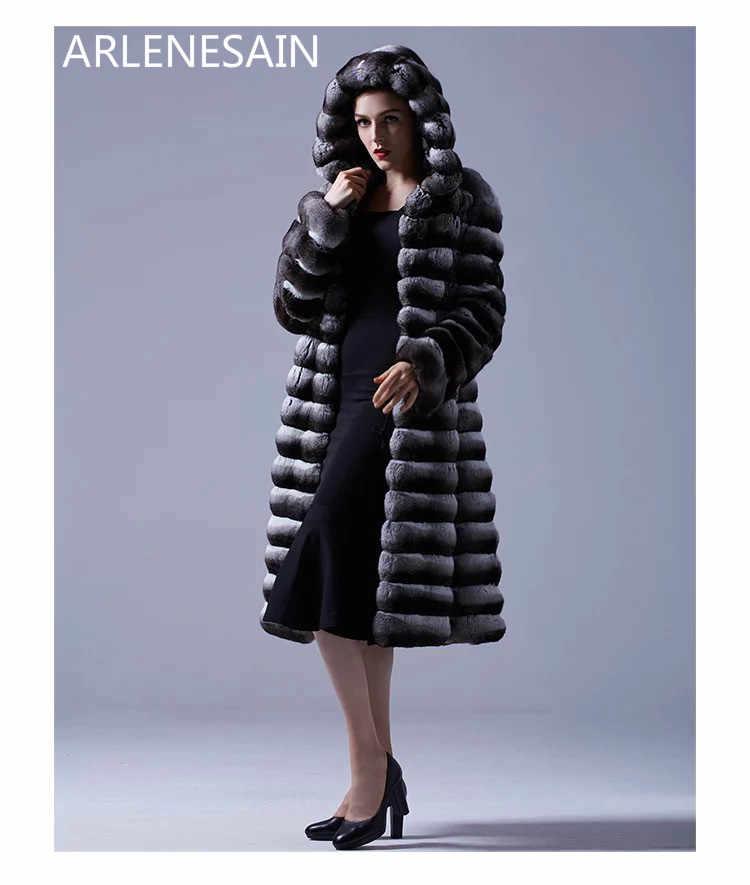 Arlenesain özel siyah chinchilla kürk kadın ceket kürk kapşonlu