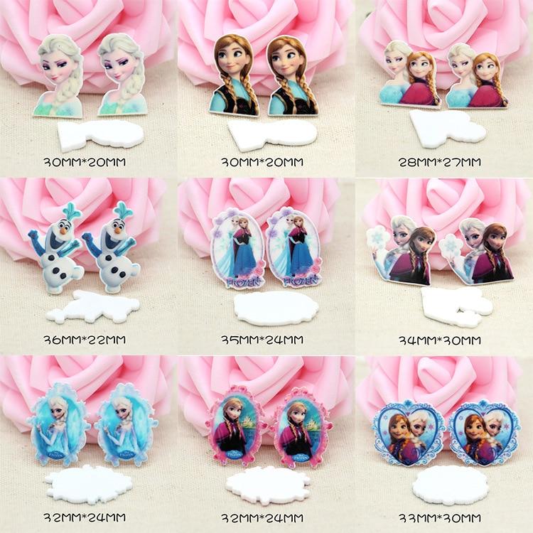 12PCS Princess Elsa Anna Kawaii Charms Resin Snow Queen Flat Charm DIY Cabochons Planar Girls Anime Character Accessories Charms