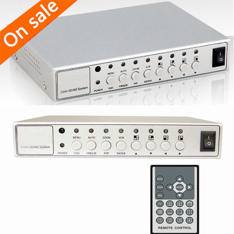 imágenes para HD CCTV Cámara de Vídeo Kit Sistema de Procesador de Vídeo en Color Quad Splitter Switcher Caja de Metal con 6 adaptador de BNC