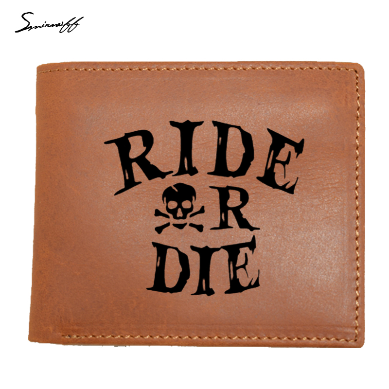 Men Wallets Genuine Cow Leather Mens Purse Fashion Coin Pocket Ride Or Die Men Walet High Quality Male Card ID Holder