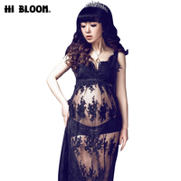 3pcs/Set Black Lace Embroideried Maternity Dresses for Photography Shoot Long Camis Dress for Pregnant Women Dress+Bra+Underwear