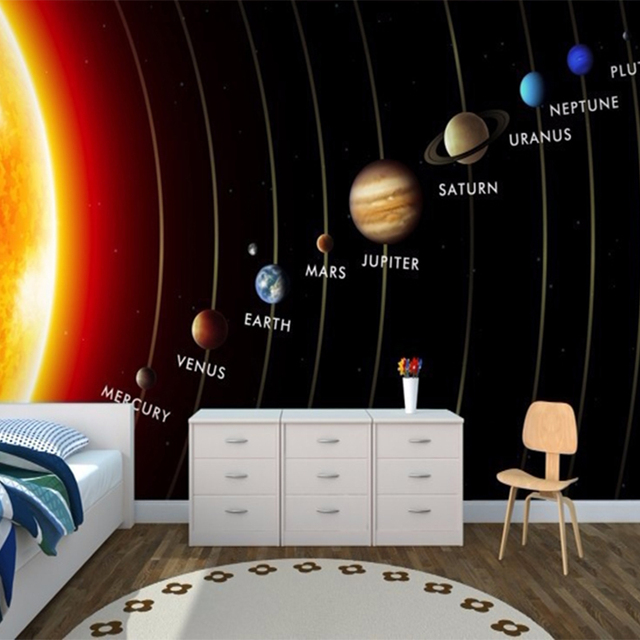 Customized 3D Mural Kids Wallpaper Solar System Planets Wall Mural Living  Room Childrenu0027s Bedroom Wall Paper TV Sofa Backdrop