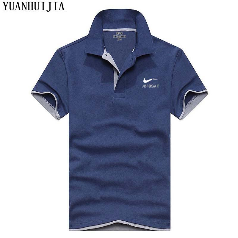 2018 New Fashion Style Men   Polo   Shirt Contrast Color Collar Short Sleeve Fitness Solid Male   Polo   Top Clothes Custom Print Logo