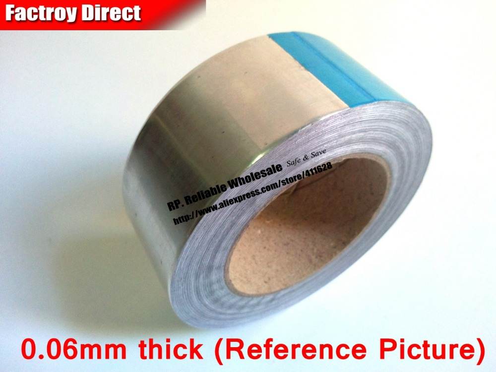 0.06mm Thick, 5mm~30mm width choose, 40 Meter, Heat Applicance, One Side Adhesive Aluminum Foil Tape for BGA Work, EMI Shielding 1x 60mm 40m 0 06mm single adhesive aluminum foil paper tape for heat transfer emi shielding bga soldering protecting