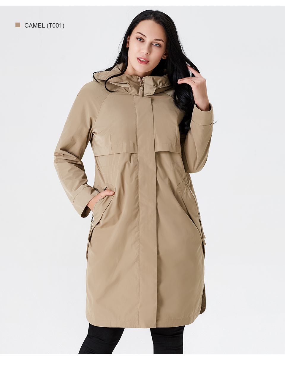 19 Trench Coat Spring And Autumn Women Causal coat Long Sleeve With Hood Solid color female moda muje High Quality new AS-9046 9