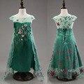 Verde chales trapear Custom Anna & Elsa princesa de vestir para niños Vestidos de la muchacha del bebé niños Cosplay vestido de partido Pincess Vestidos