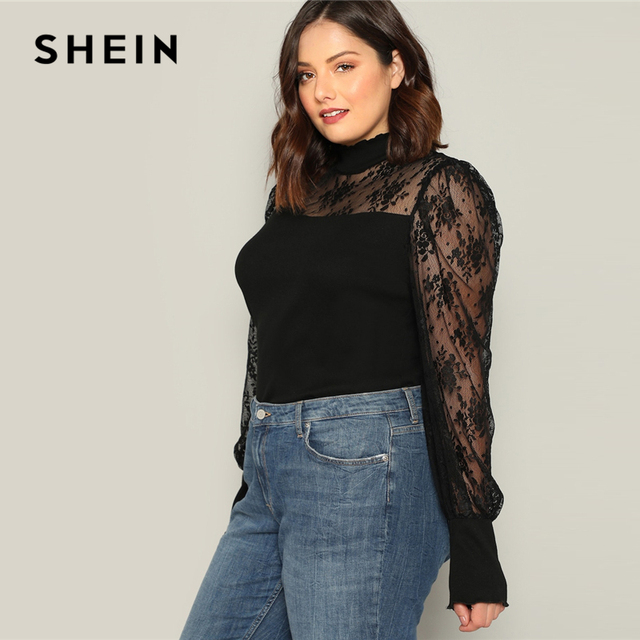 SHEIN Plus Size Black Mesh Puff Long Sleeve Stand Collar Women Casual T Shirt 2019 Spring Elegant Solid Tops Tee 2