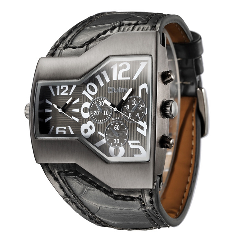 Oulm Brand Quartz Watch Male Square Dial Sport Wristwatches Multiple Time Zone Mens Designer Watches Luxury Men Watch men quartz watches new fashion sport oulm japan double movement square dial compass function military cool stylish watch relojio
