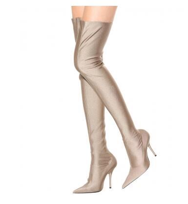 8393377f8df Aliexpress.com  Compre Moda Runway Stretchy Meias Botas Stiletto Toe Pontudo  Calcanhar Coxa Sapatos Botas de Cano alto Mulher Mancha Virilha Slip on  Sobre O ...