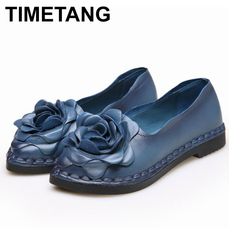 TIMETANG 2018 Shoe For Women Handmade Shoes Genuine Leather Soft Flower Flats Autumn Driving Shoes Pointed Toe Women Flats C222 pointed toe tie leg flats