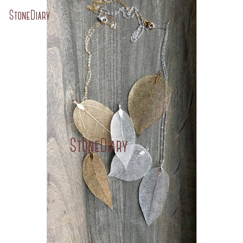 10Pcs Leaf Necklace Long  Layering Necklace Large Silver Gold Leaf Pendant Necklace Minimalist Necklace NM14791