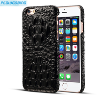 PCDG Geunine Leather Phone Case For IPhone 6s Plus Iphone 6 6s Ultrathin Crocodile Leather Back