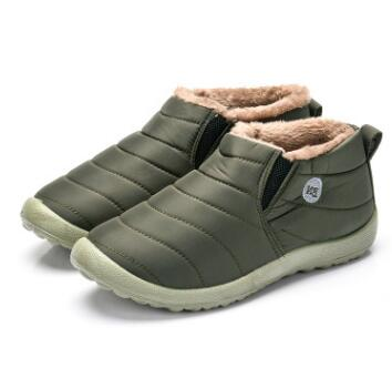 Men Snow Boots Solid Color Warming Fabric Slip-on Ankle Boots for Male Winter Outdoor Shoes Plus size 35-49