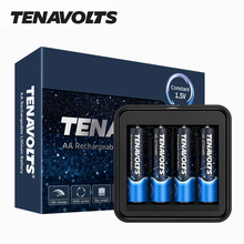 NANFU 4 Pcs/Set TENAVOLTS AA Rechargeable Battery 2775 mWh Lithium Li-ion Batteries with Charger Set High-Capacity