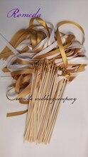 Hot Verkoper Stijl Een weelderig Goud & Wit Stain Lint Wedding Toverstokken voor Party Decoratie (50 stks/partij)