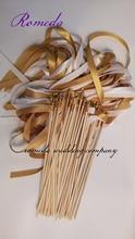 Sıcak Satıcı Tarzı Bir bereketli Altın ve Beyaz Saten Kurdele Düğün Değneklerini Parti Dekorasyon (50 adet/grup)