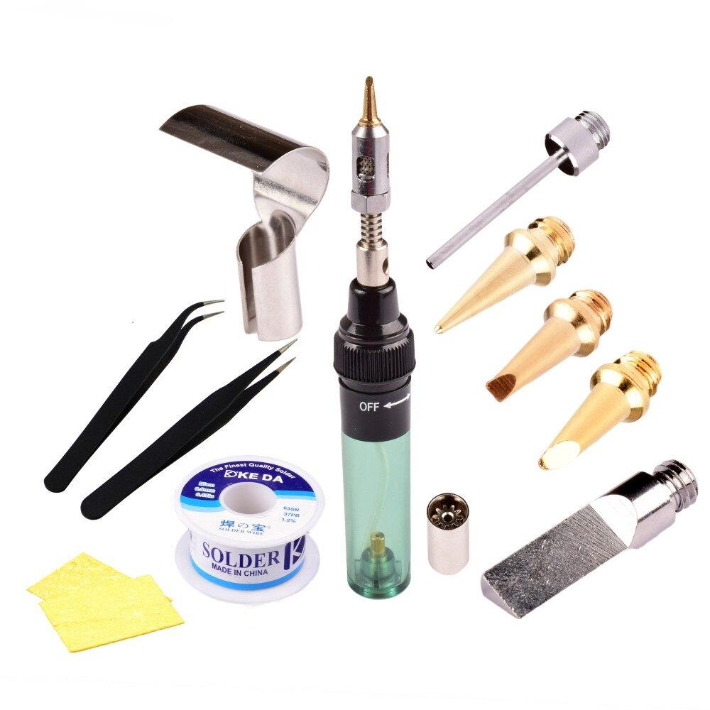 Electrónica de alta calidad herramienta de bricolaje Saldatore Soldador de Gas de soldadura de hierro arma Kits antorcha sin soldadura de hierro de puntas de pluma