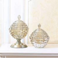 European luxury Glass bottles home Decor Crafts dust proof stand dessert candy jars tea caddy Boxes storage jar wedding vase