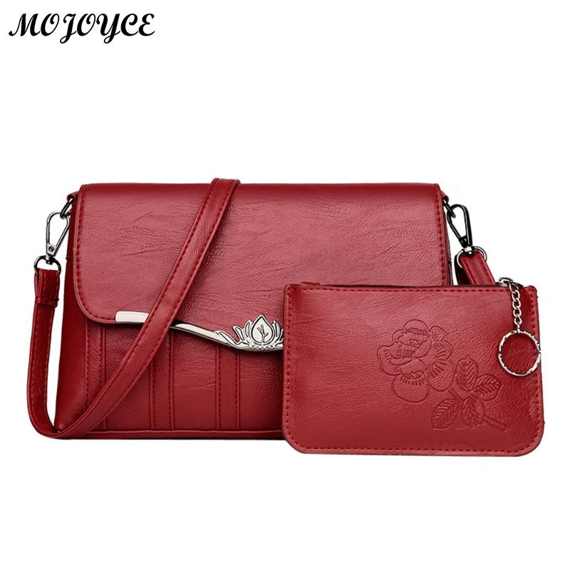 2 Pcs/Set Women Messenger Bag PU Leather Handbag Composite Purse Clutch Square Crossbody Bag Ladies Shoulder Bags Red/ Black