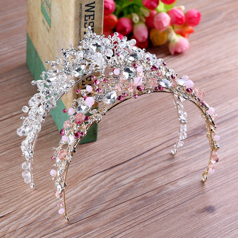 New white pink beads bridal crowns handmade tiara bride headband crystal rhinestone diadem queen crown wedding hair accessories(China)