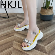 HKJL 2019 Fashion Summer chic rhinestone wedges with comfortable sandals toe crystal clear buckle versatile shoes A334