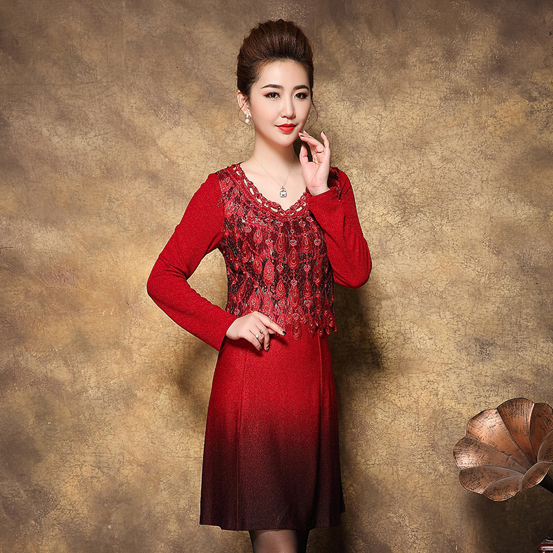 2017 Free Shipping Autumn Winter New Mother Dress Long Sleeve Slim Women Work Wear Fashion Plus Ize Clothes Blue Red Rose